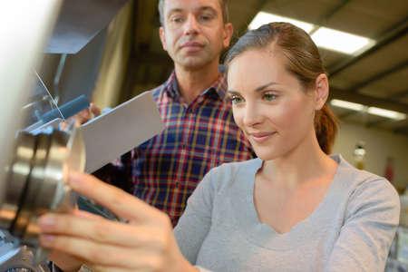 Woman using device Stock Photo