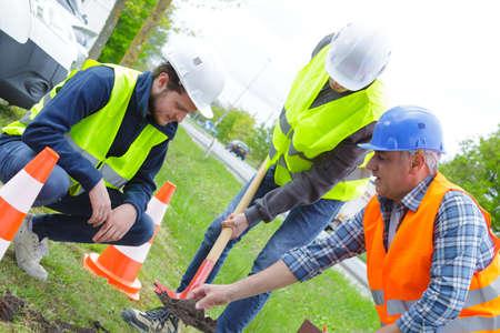 workers build concrete walkway in green field Stock Photo