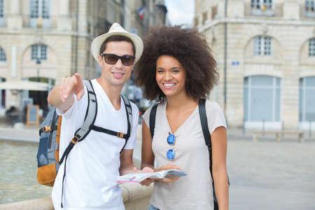 Young couple visiting european city