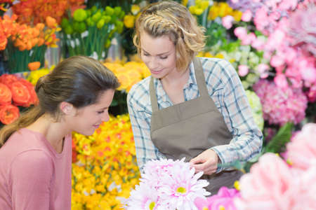 cutting: two young beautiful women looking at flowers in greenhouse