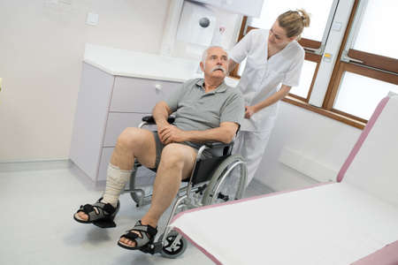 the disabled patient on the wheelchair