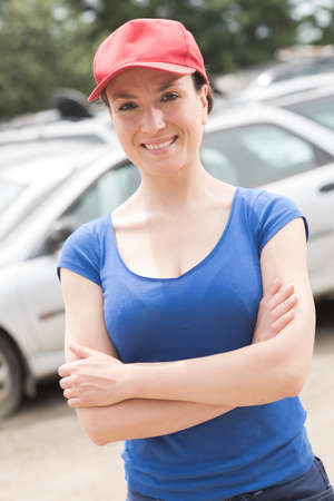 sporty woman in car park Stock Photo