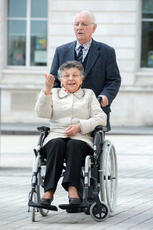 elderly couple on the stroll Stock Photo