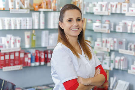 portrait of female pharmacists working in modern farmacy Stock Photo