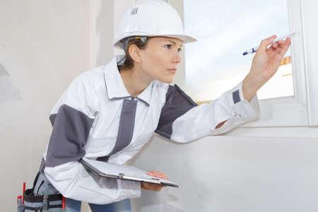 window setter inspecting the window Standard-Bild