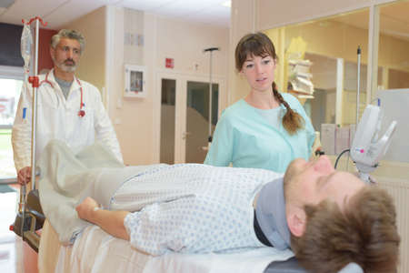 emergency transportation patient to the intensive care unit Stock Photo