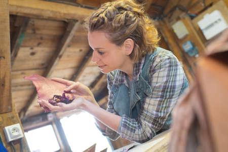 female shoemaker in workshop Stock Photo