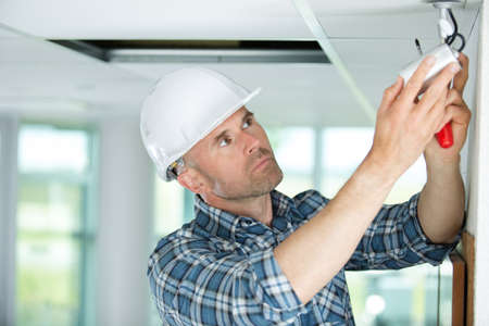 building regulations: installing a security camera Stock Photo