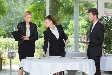 young student having a practical restaurateur test