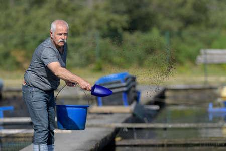 man feeding a fishes