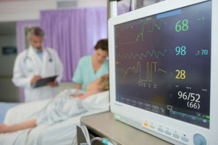 screen display of vital sign monitor in hospital