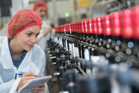 Woman making notes beside bottling plant production line Stock Photo