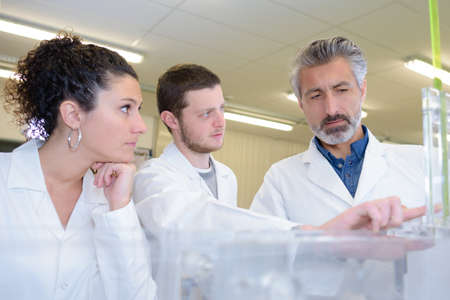 students and teacher in biology training course Stock Photo