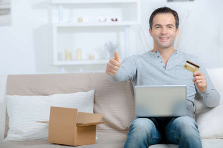 buying online is faster and easier Stock Photo