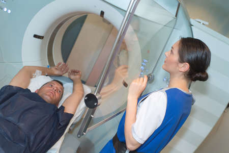 patient ready for a ct scanner in a hospital
