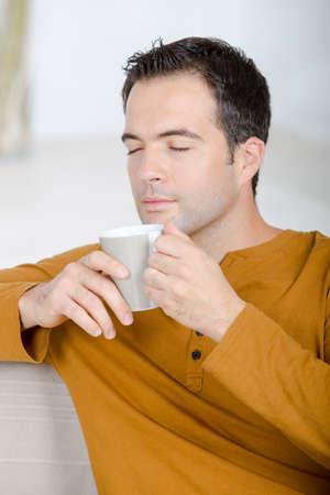 men drinking coffee Stock Photo