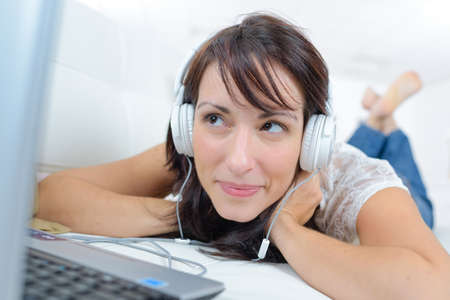 girl watching laptop Stock Photo