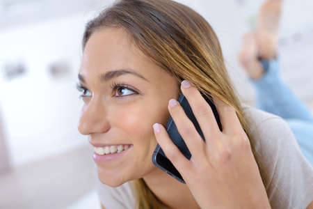woman having a conversation on the cellular phone Stock Photo