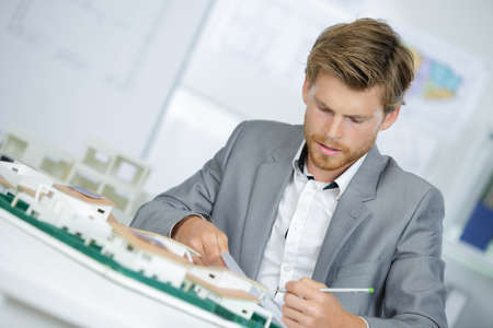 Architect at work in the office Stock Photo