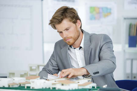 architect working on model