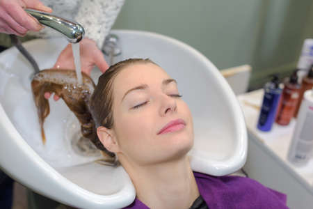 washing procedure at a hairdressers Stock Photo