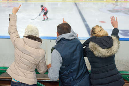 people supporting ice hokey team Stok Fotoğraf