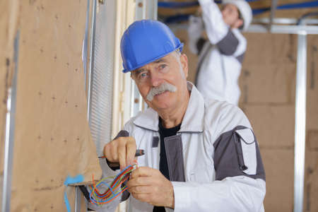 beforehand: electrician installing the wires beforehand
