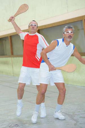 eye ball: men playing pala Stock Photo