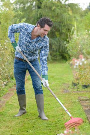 Man raking over grass Stok Fotoğraf