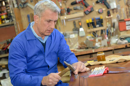 cabinetry: a carpenters workshop Stock Photo