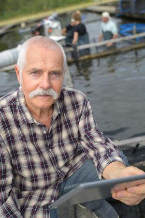 aquaculture owner posing Stock Photo