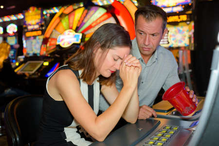 female gambler lost everything in the casino Stock Photo