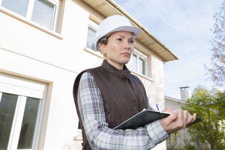 female construction organizer outdoors