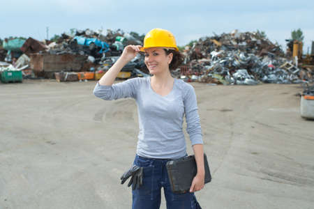woman posing in the junkyard Stock Photo