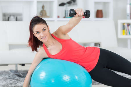 woman on an exercise ball Stock Photo