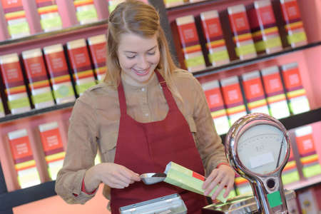 smocking: portrait of attractive female tea seller