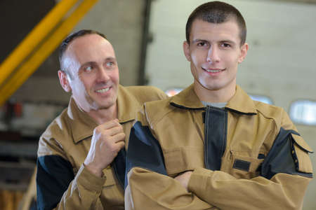 portrait of two plumbers Stock Photo