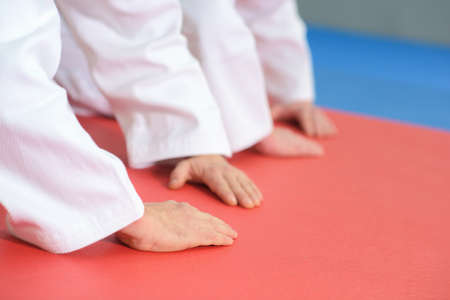hands on the floor during martial arts practice