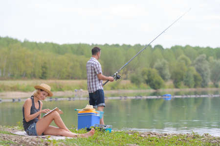 couple fishing Stock Photo