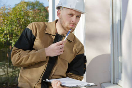 young builder outdoors
