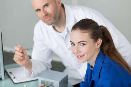 Portrait of student and teacher Standard-Bild