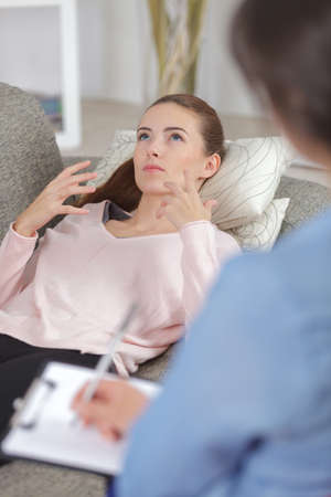 young woman on psychological session