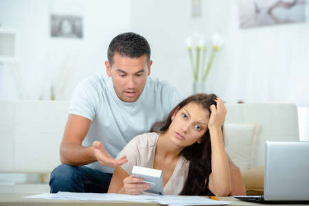Young couple anxious about finances