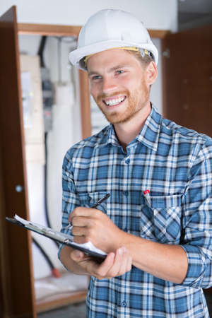 young handsome construction manager Stock Photo