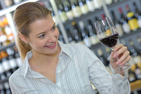 woman wine tasting Stock Photo