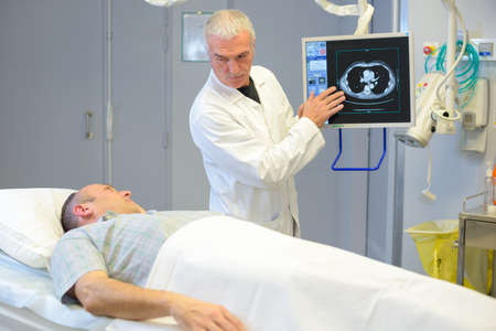 doctor using a modern device in the hospital