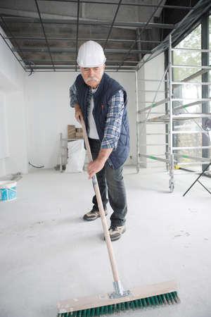 senior worker in construction yard