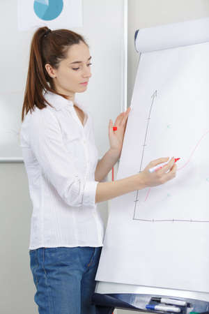 young female writing in a white board