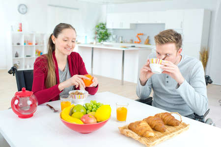 young couples balanced breakfast