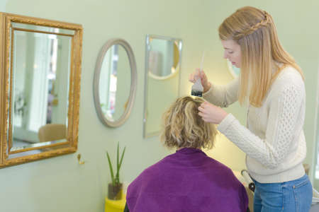 picture on hair coloring process at home Stock Photo
